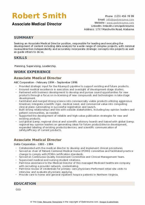 Associate Medical Director Resume example