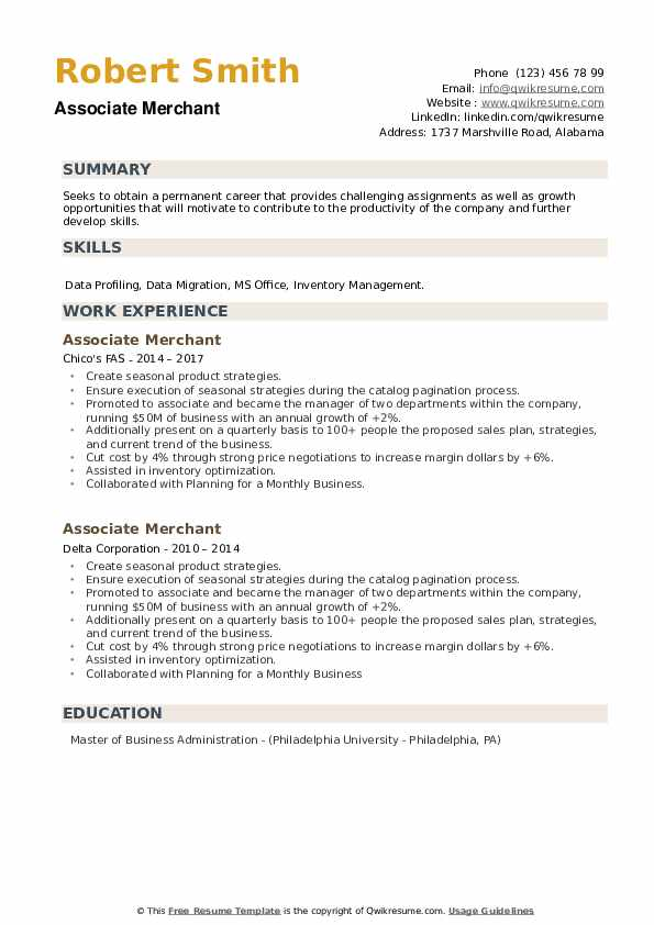 Associate Merchant Resume example