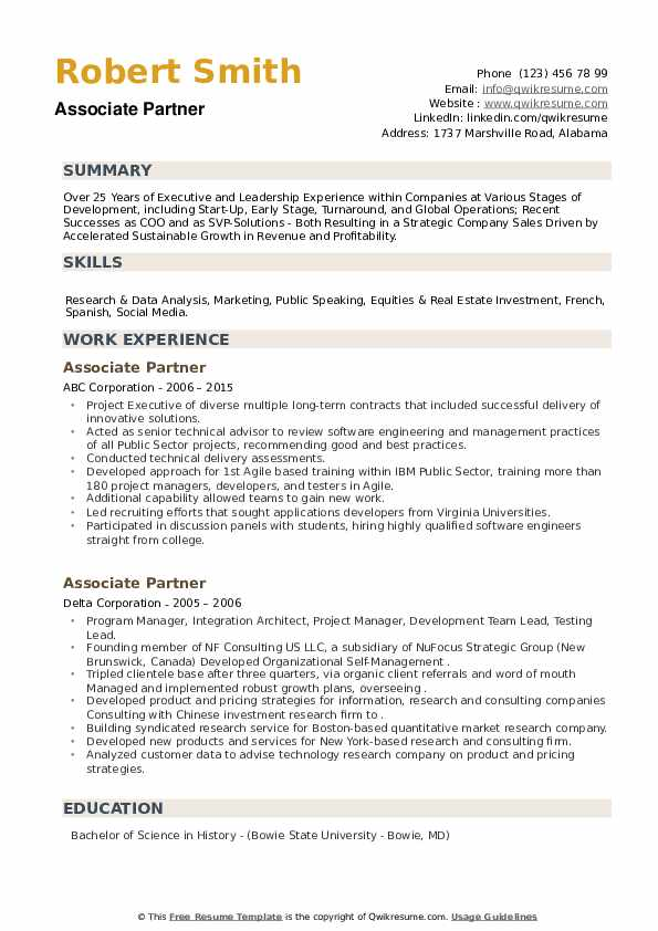 Associate Partner Resume example