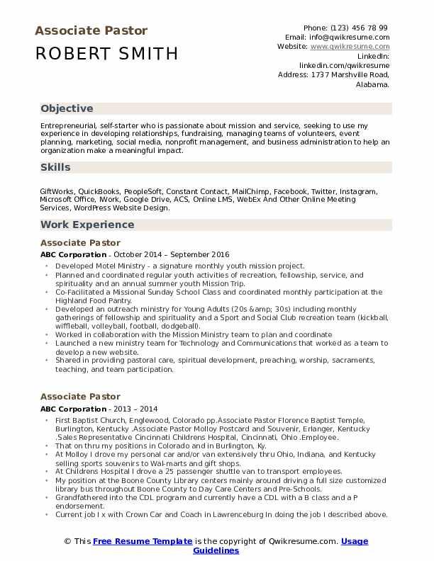 associate pastor resume samples