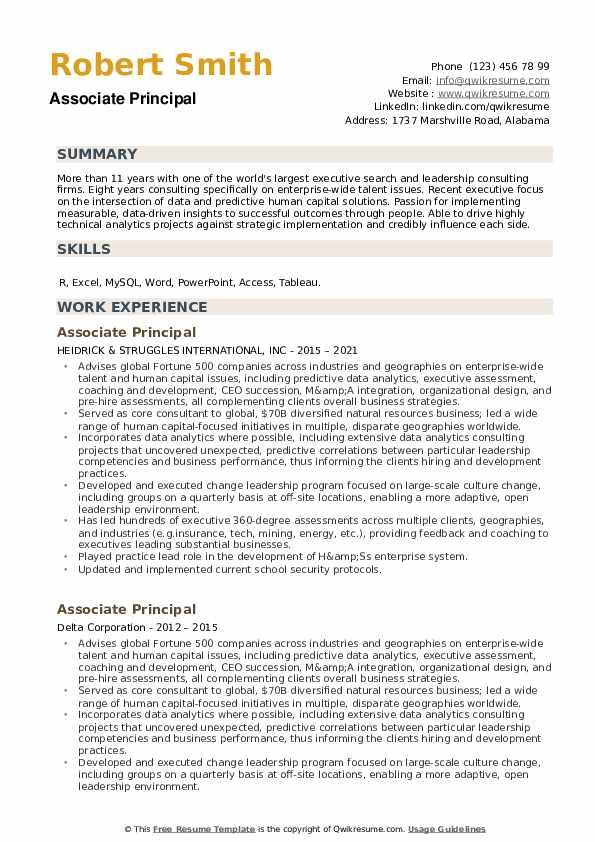 Associate Principal Resume example