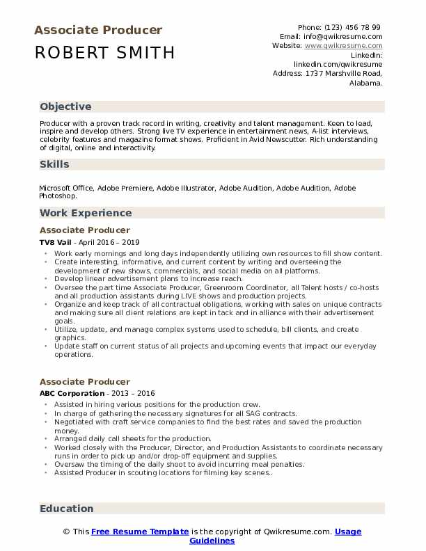 Associate Producer Resume Example
