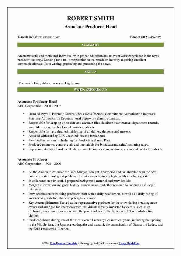 Associate Producer Head Resume Example