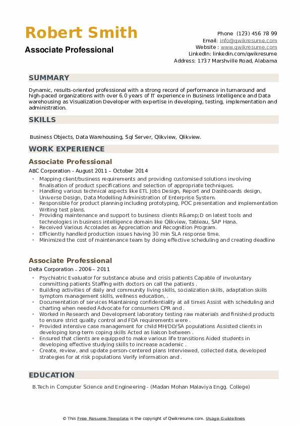 Associate Professional Resume example