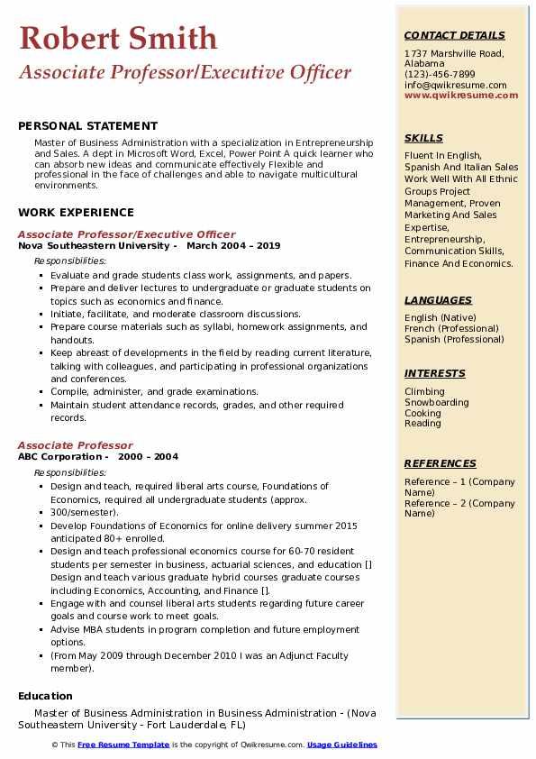 associate professor resume samples  qwikresume
