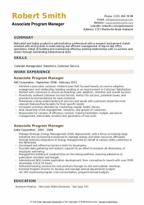 Associate Program Manager Resume example