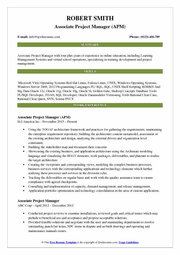 Associate Project Manager (APM) Resume Example
