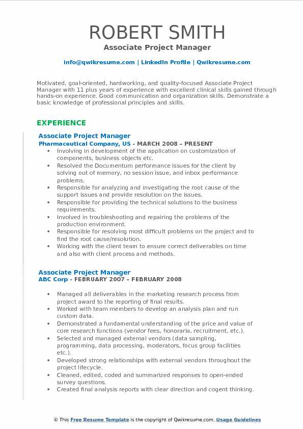 Associate Project Manager Resume Model