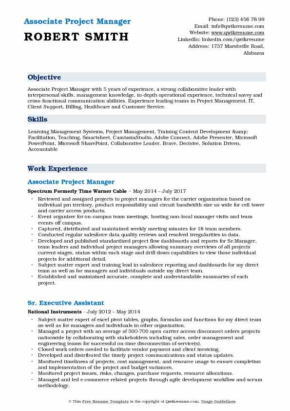 associate project manager resume samples