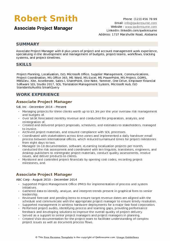 Associate Project Manager Resume example