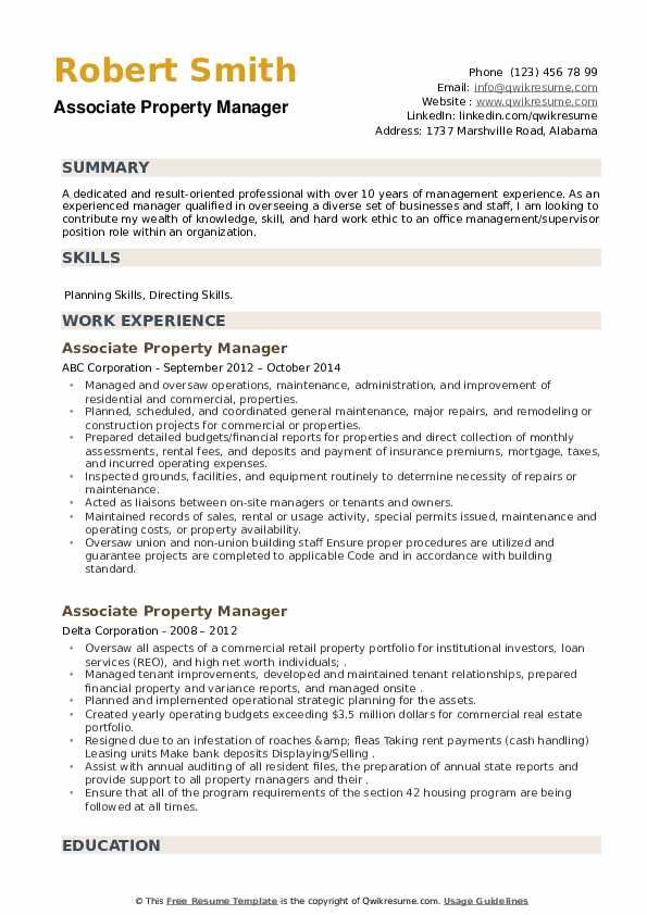 Associate Property Manager Resume example