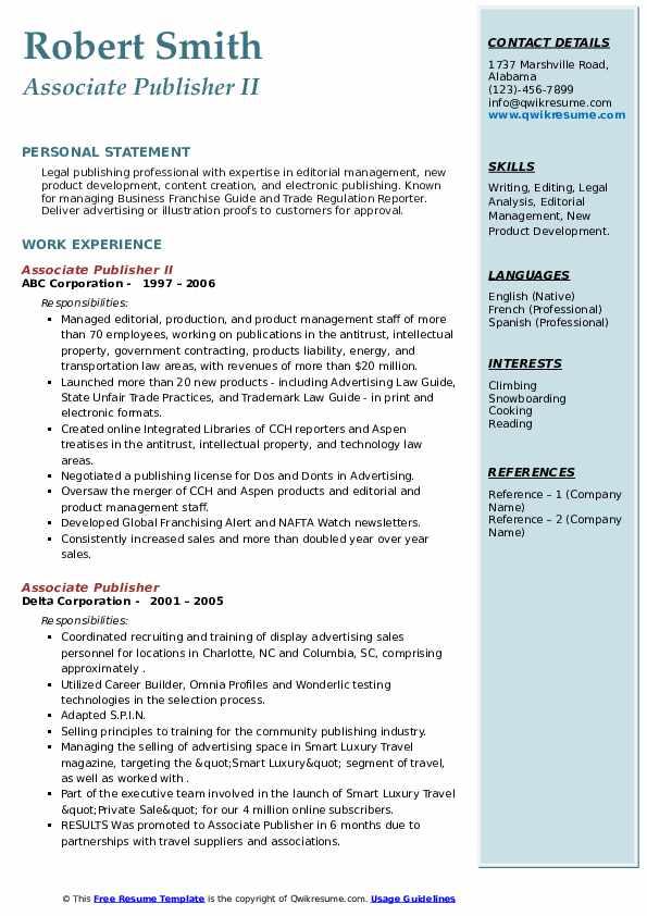 associate publisher resume samples  qwikresume