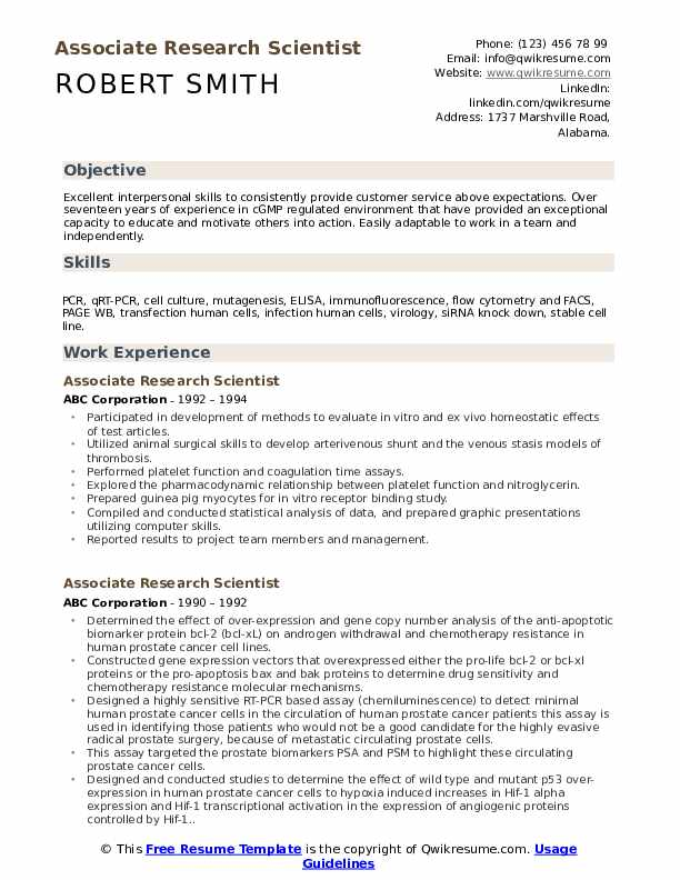 Associate Research Scientist Resume example