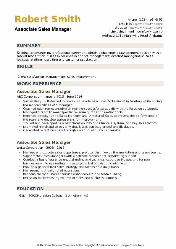 Associate Sales Manager Resume example