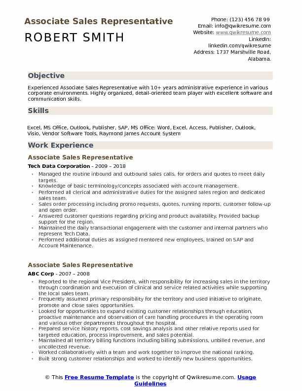 Associate Sales Representative Resume Sample