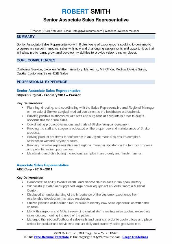 Senior Associate Sales Representative Resume Sample