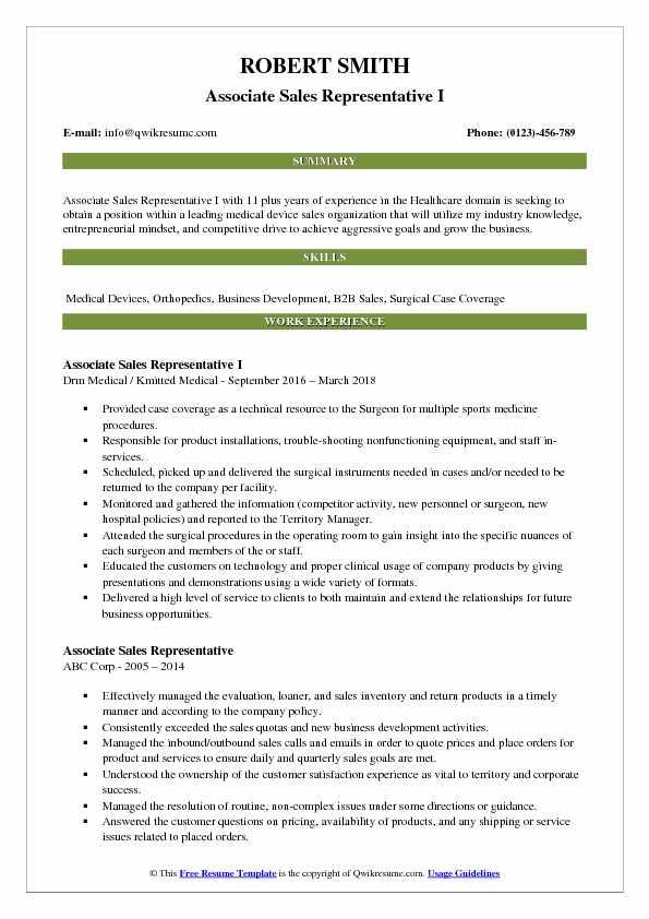 Associate Sales Representative I Resume Model