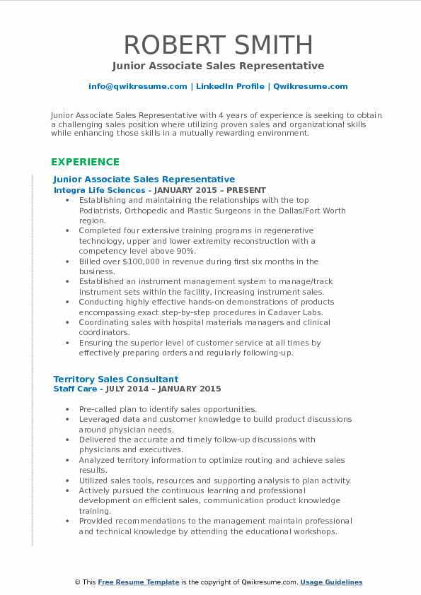 Junior Associate Sales Representative Resume Sample