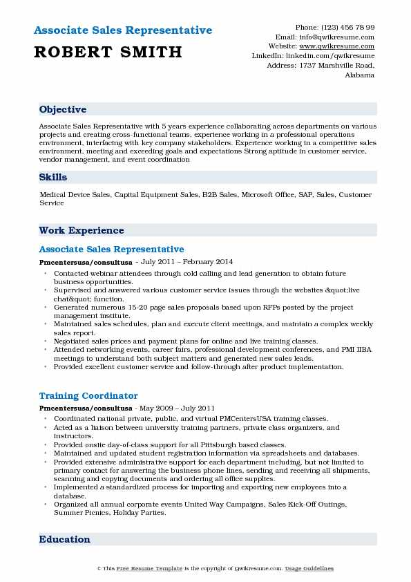 Associate Sales Representative Resume Model