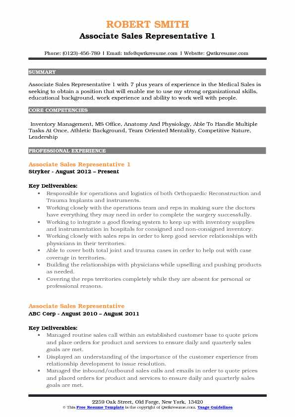 Associate Sales Representative 1 Resume Example