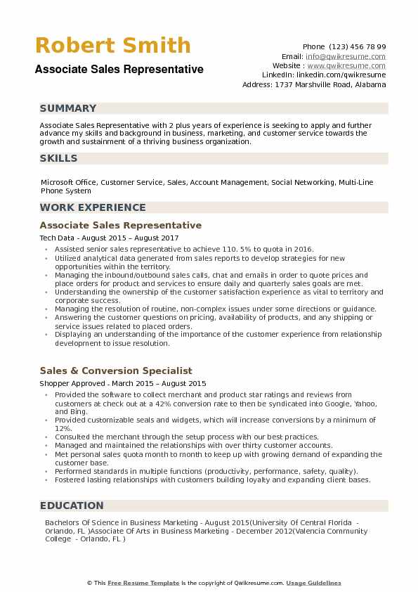 Associate Sales Representative Resume example