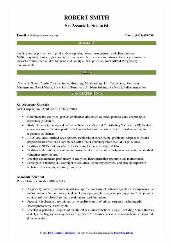 Sr. Associate Scientist Resume Model