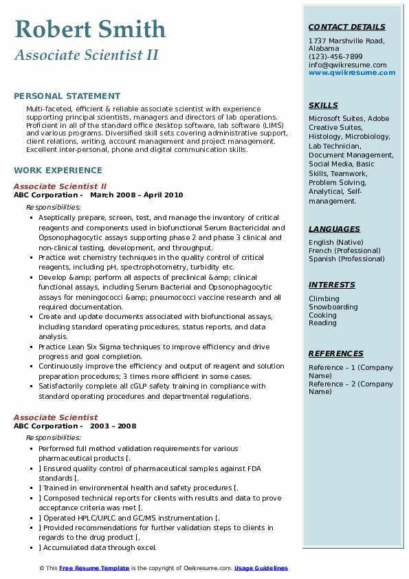 Associate Scientist II Resume Example