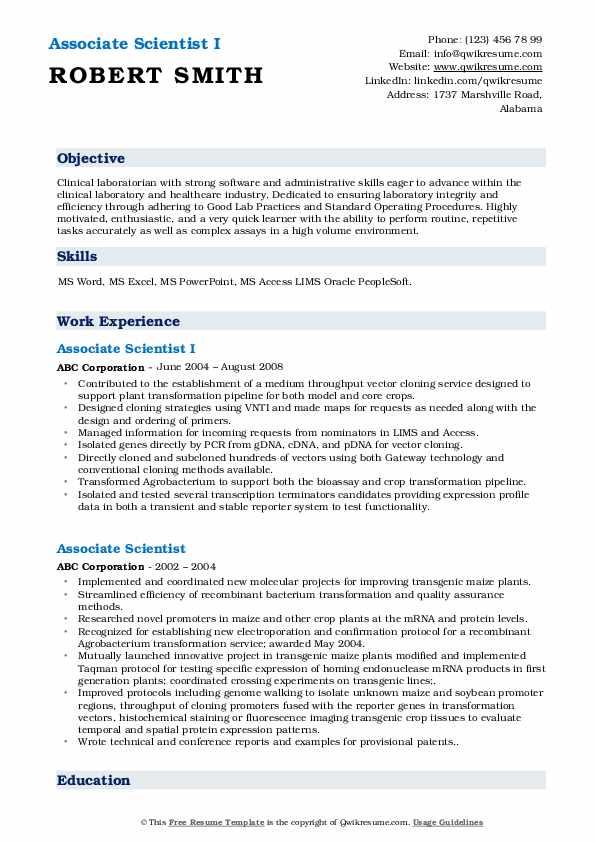 Associate Scientist I Resume Format