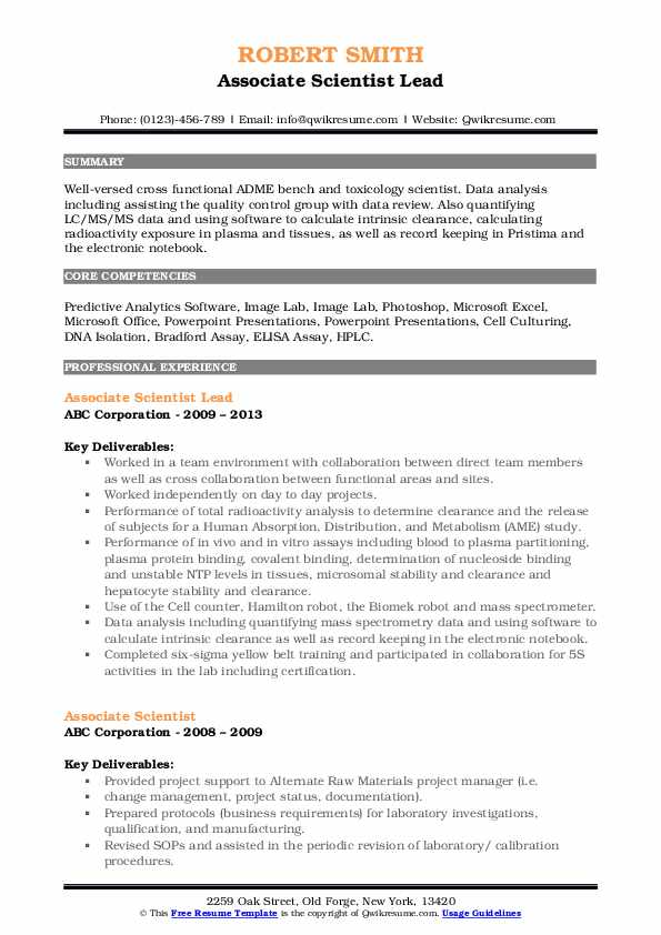 Associate Scientist Lead Resume Model