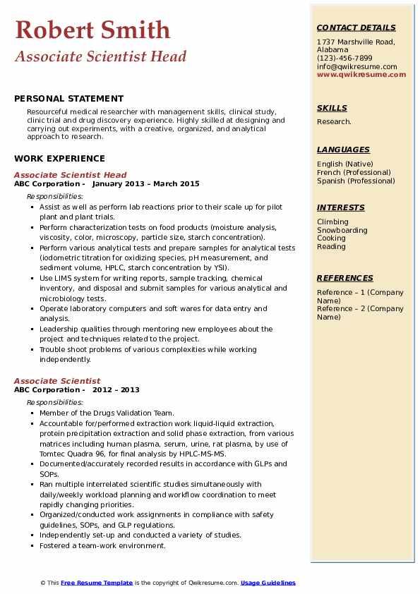 Associate Scientist Head Resume Sample