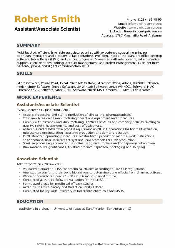 Assistant/Associate Scientist Resume Model