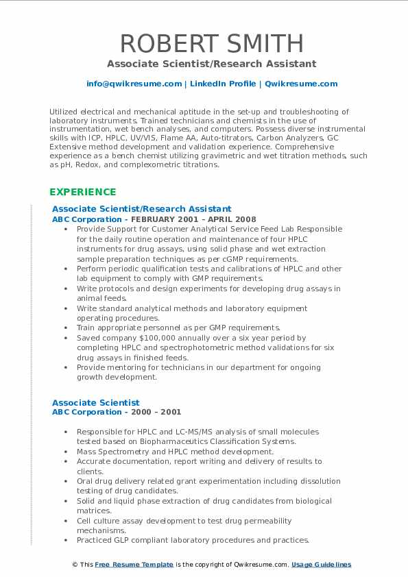 Associate Scientist/Research Assistant Resume Sample