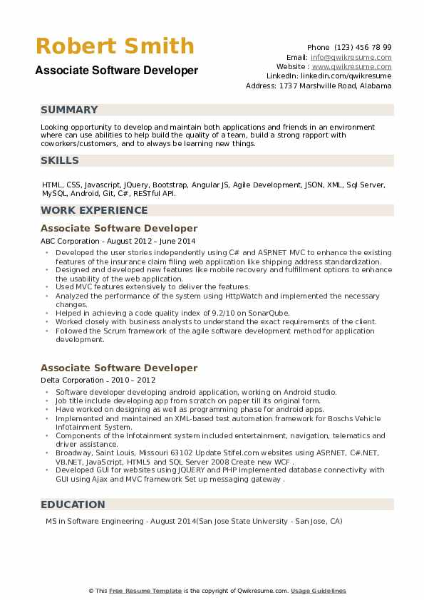 Associate Software Developer Resume example