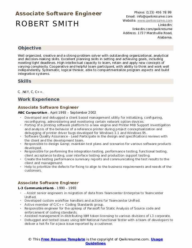 Associate Software Engineer Resume Samples Qwikresume
