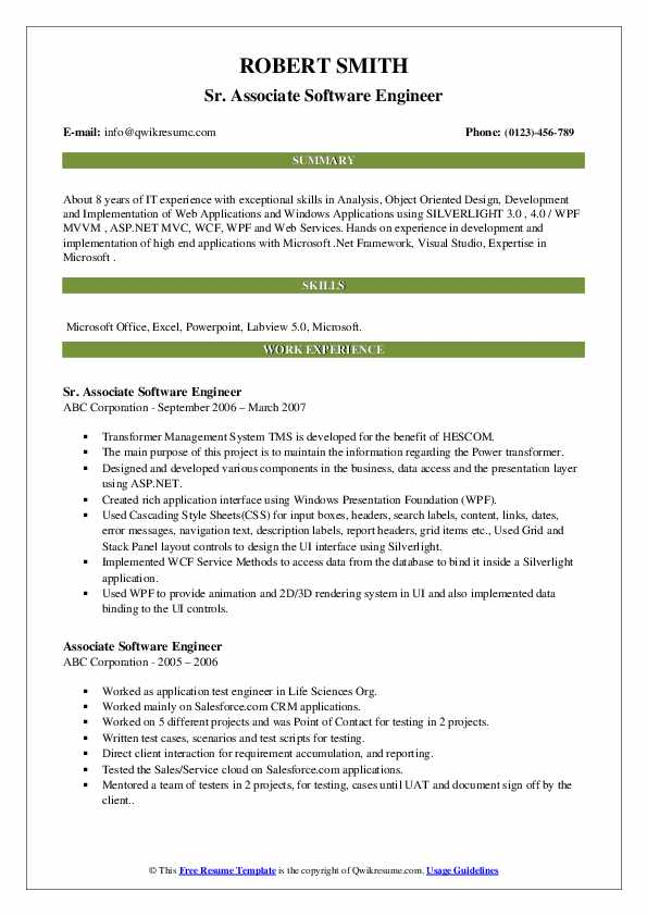 Associate Software Engineer Resume Samples Qwikresume