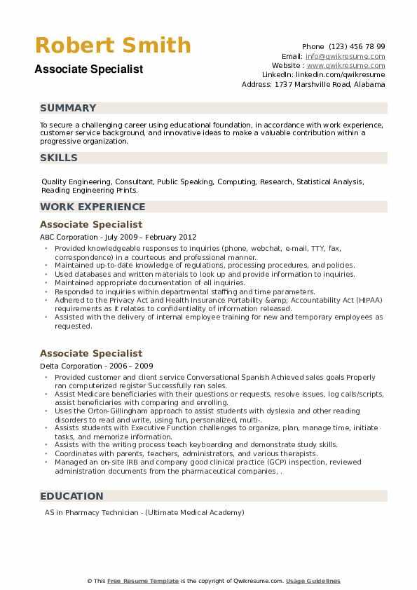 Associate Specialist Resume example
