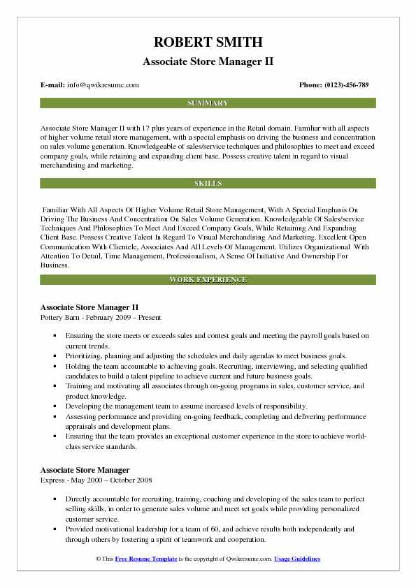 Associate Store Manager II Resume Example