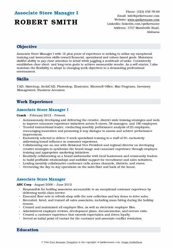 Associate Store Manager I Resume Example