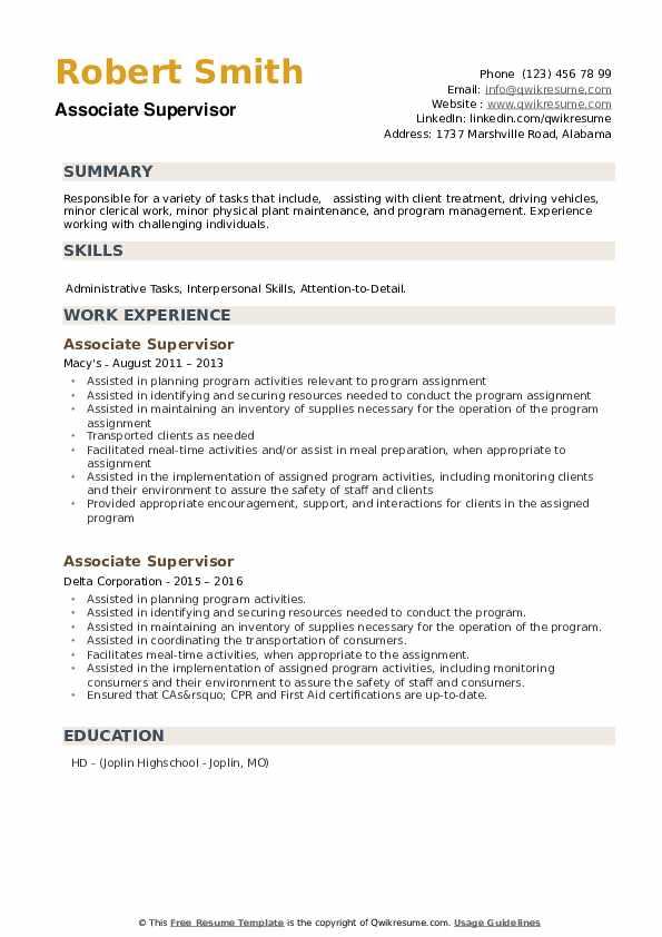 Associate Supervisor Resume example