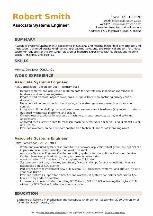 Associate Systems Engineer Resume example