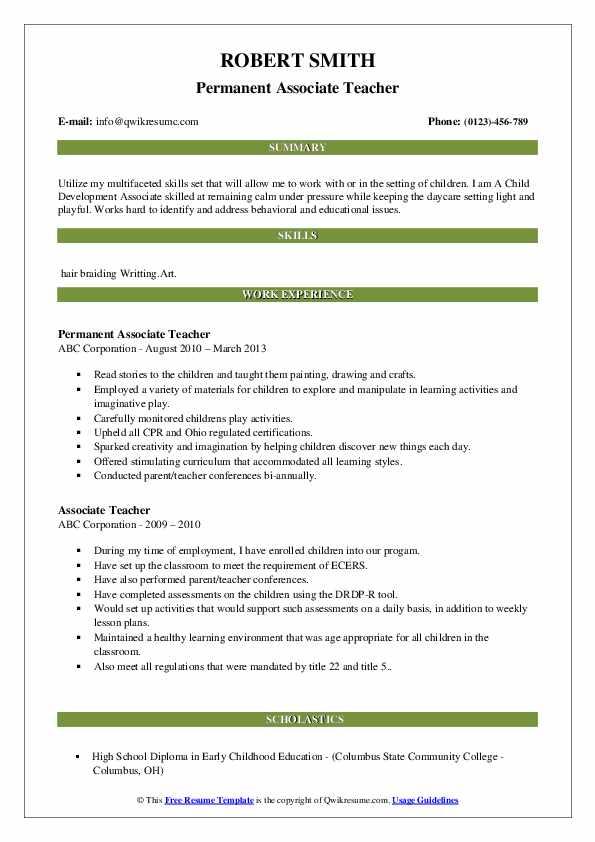 Associate Teacher Resume Samples | QwikResume