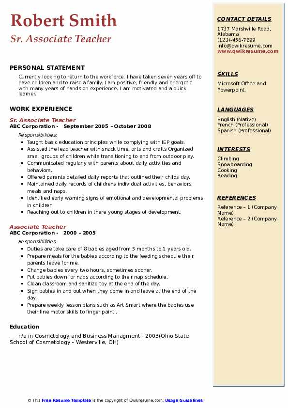 associate teacher resume samples