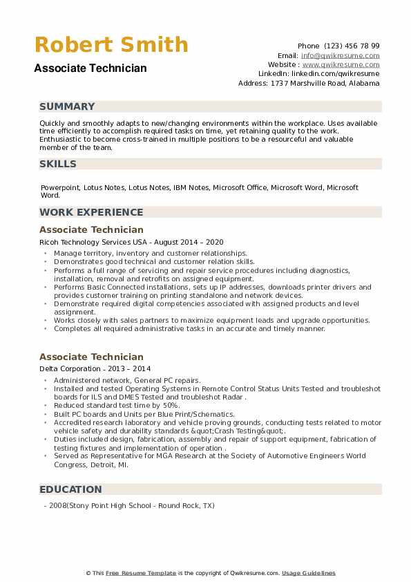 Associate Technician Resume example