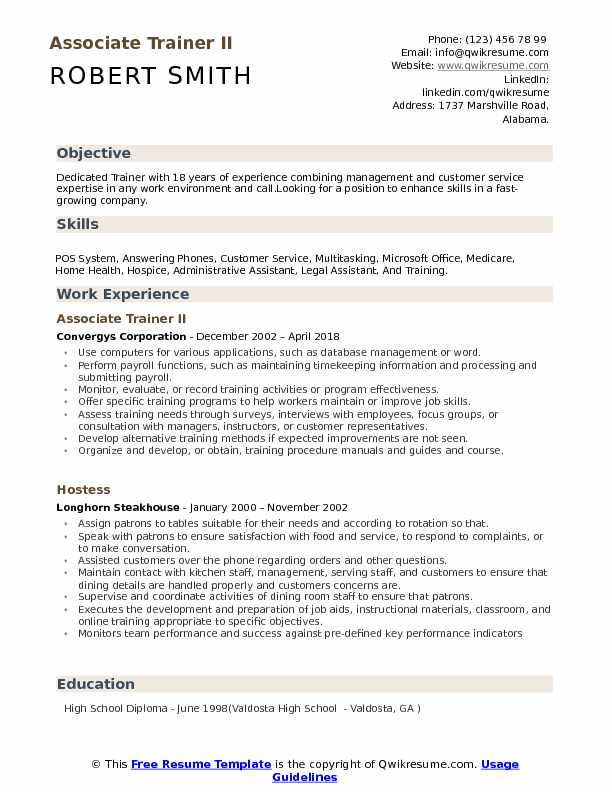 Associate Trainer II Resume Template