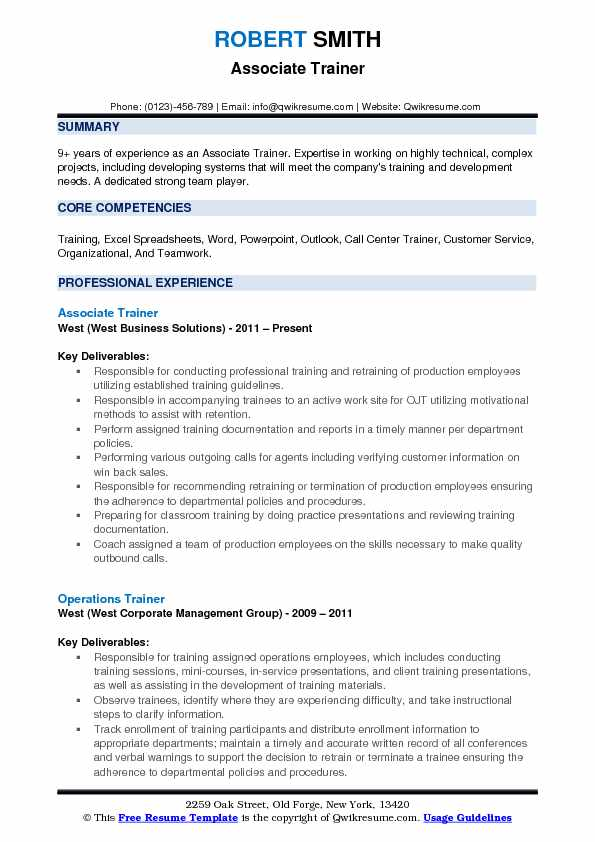 Associate Trainer Resume Template