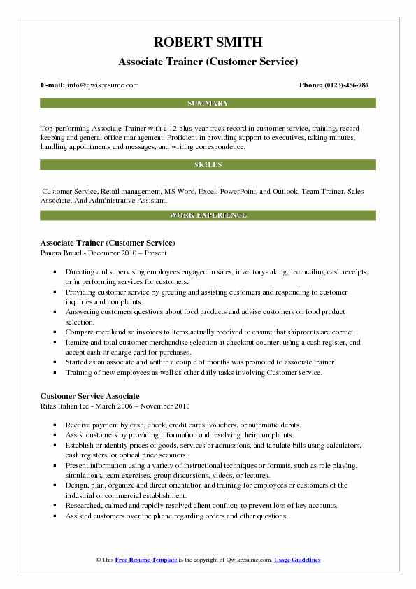 Associate Trainer (Customer Service) Resume Sample