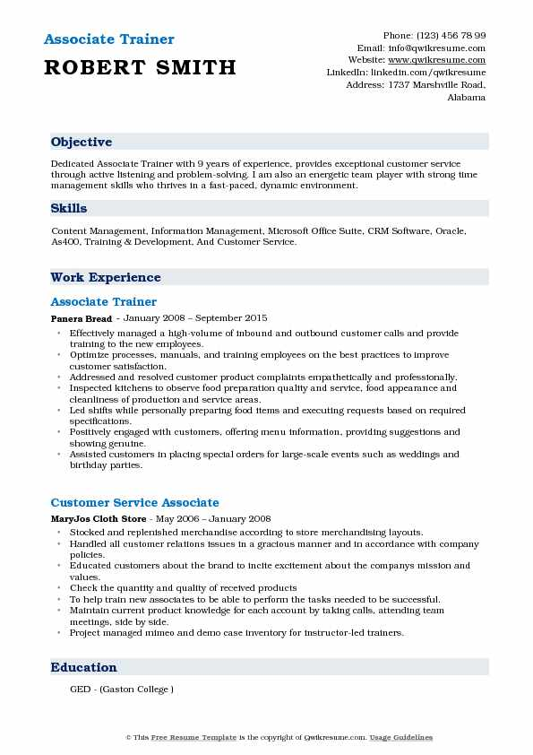 Associate Trainer Resume Example