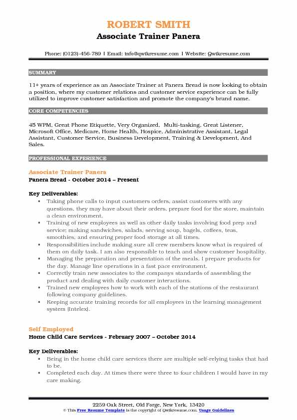 Associate Trainer Panera Resume Example