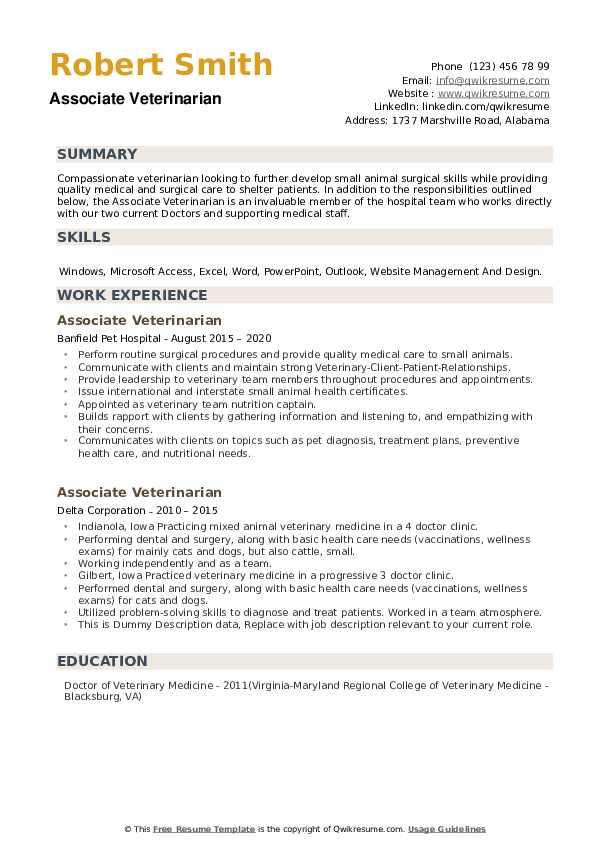 Associate Veterinarian Resume example