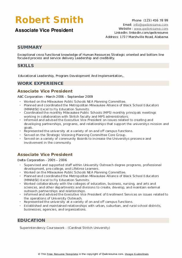Associate Vice President Resume example